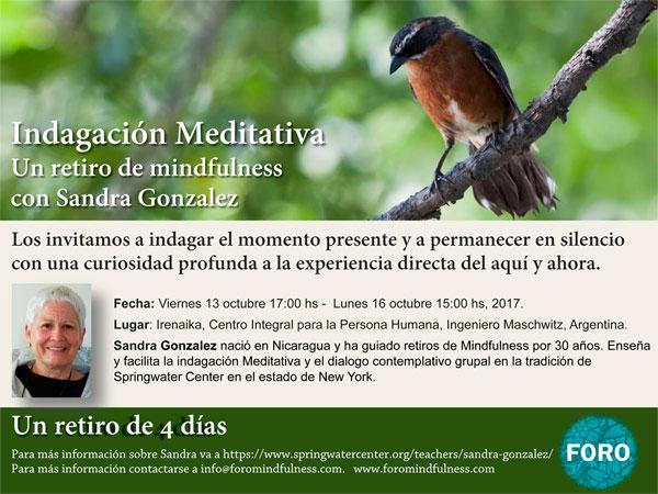 Indagación Meditativa: un retiro de mindfulness con Sandra Gonzalez